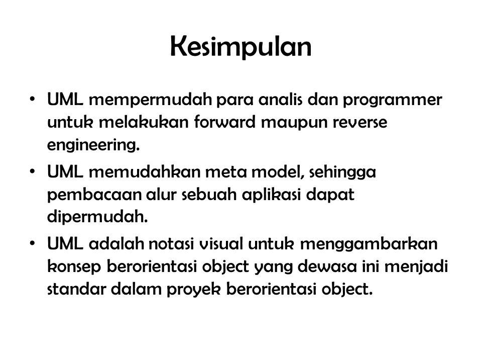 Kesimpulan UML mempermudah para analis dan programmer untuk melakukan forward maupun reverse engineering.