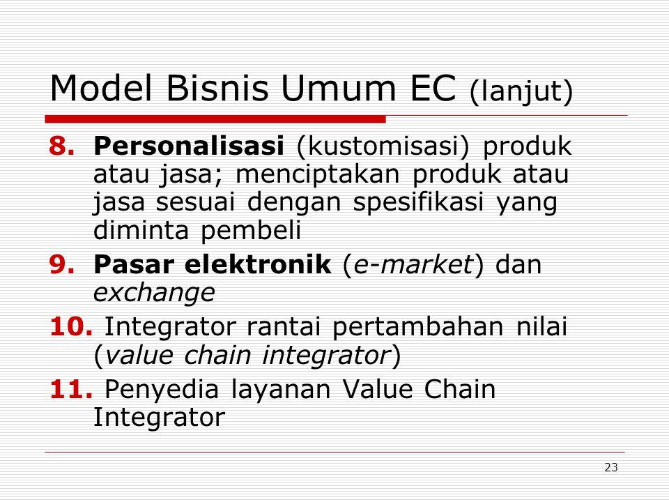 23 Model Bisnis Umum EC (lanjut) 8.Personalisasi (kustomisasi) produk atau jasa; menciptakan produk atau jasa sesuai dengan spesifikasi yang diminta pembeli 9.Pasar elektronik (e-market) dan exchange 10.