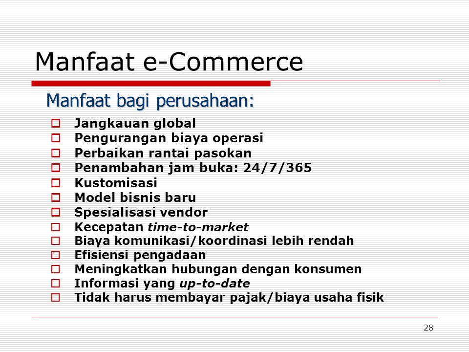 28 Manfaat e-Commerce  Jangkauan global  Pengurangan biaya operasi  Perbaikan rantai pasokan  Penambahan jam buka: 24/7/365  Kustomisasi  Model bisnis baru  Spesialisasi vendor  Kecepatan time-to-market  Biaya komunikasi/koordinasi lebih rendah  Efisiensi pengadaan  Meningkatkan hubungan dengan konsumen  Informasi yang up-to-date  Tidak harus membayar pajak/biaya usaha fisik Manfaat bagi perusahaan: