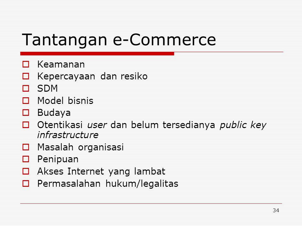 34 Tantangan e-Commerce  Keamanan  Kepercayaan dan resiko  SDM  Model bisnis  Budaya  Otentikasi user dan belum tersedianya public key infrastructure  Masalah organisasi  Penipuan  Akses Internet yang lambat  Permasalahan hukum/legalitas