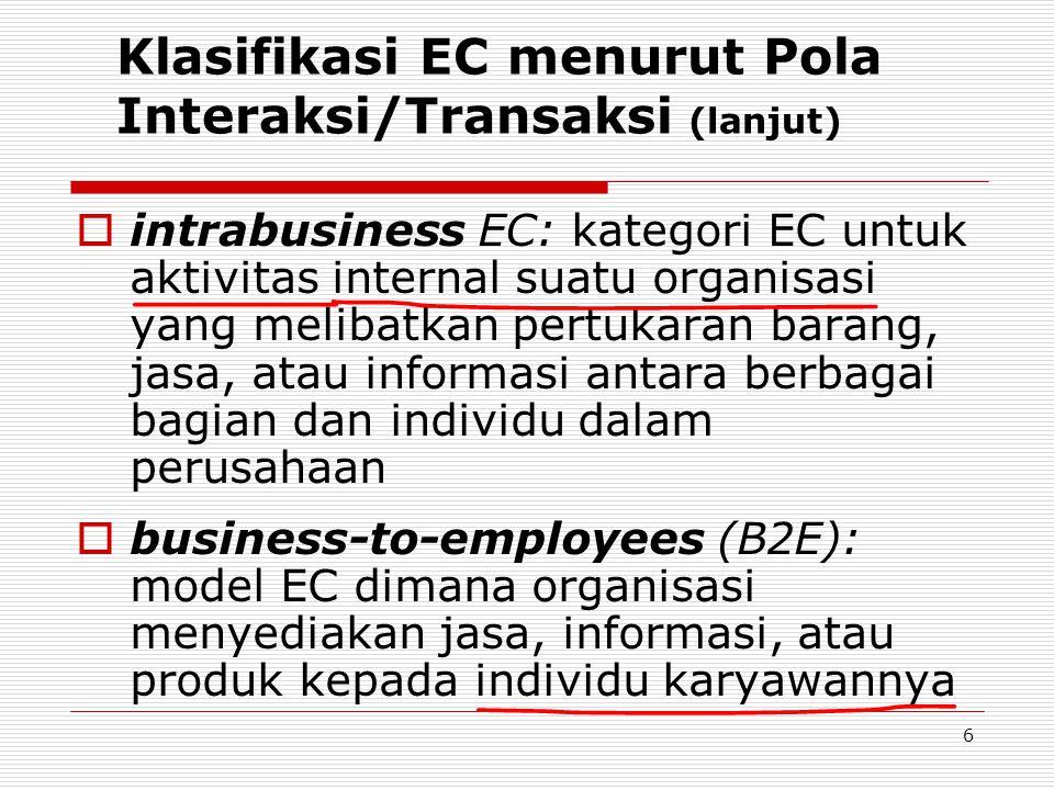 6 Klasifikasi EC menurut Pola Interaksi/Transaksi (lanjut)  intrabusiness EC: kategori EC untuk aktivitas internal suatu organisasi yang melibatkan pertukaran barang, jasa, atau informasi antara berbagai bagian dan individu dalam perusahaan  business-to-employees (B2E): model EC dimana organisasi menyediakan jasa, informasi, atau produk kepada individu karyawannya