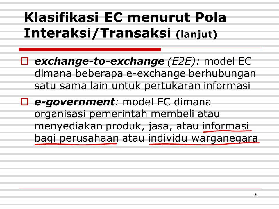 8 Klasifikasi EC menurut Pola Interaksi/Transaksi (lanjut)  exchange-to-exchange (E2E): model EC dimana beberapa e-exchange berhubungan satu sama lain untuk pertukaran informasi  e-government: model EC dimana organisasi pemerintah membeli atau menyediakan produk, jasa, atau informasi bagi perusahaan atau individu warganegara