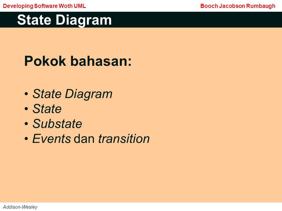 Pokok bahasan: State Diagram State Substate Events dan transition State Diagram Developing Software Woth UML Booch Jacobson Rumbaugh Addison-Wesley