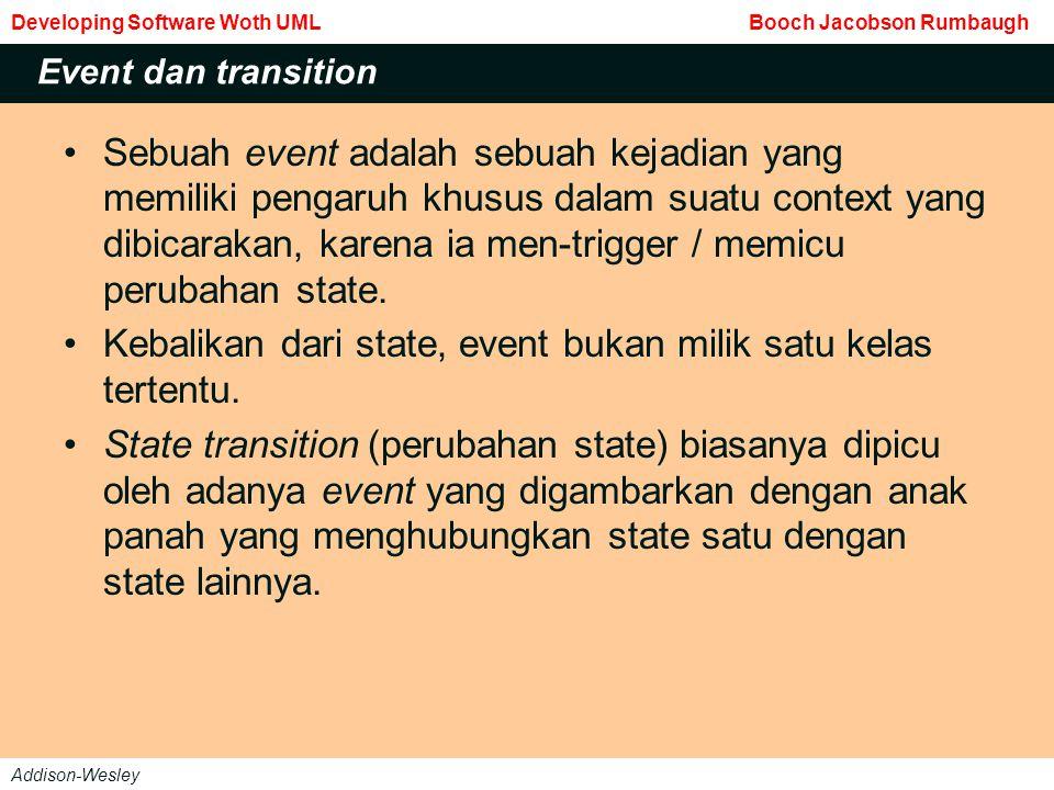 Sebuah event adalah sebuah kejadian yang memiliki pengaruh khusus dalam suatu context yang dibicarakan, karena ia men-trigger / memicu perubahan state.