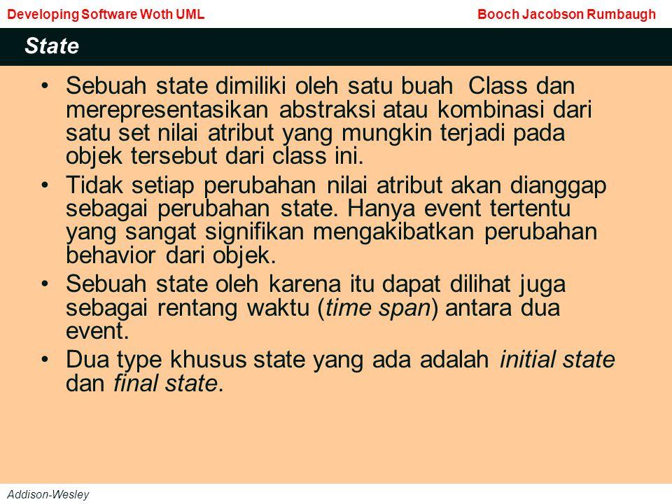 Tidak ada transisi yang menuju initial state dan tidak ada event yang diperbolehkan meninggalkan final state.