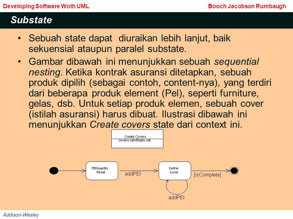 Sebuah state dapat diuraikan lebih lanjut, baik sekuensial ataupun paralel substate.