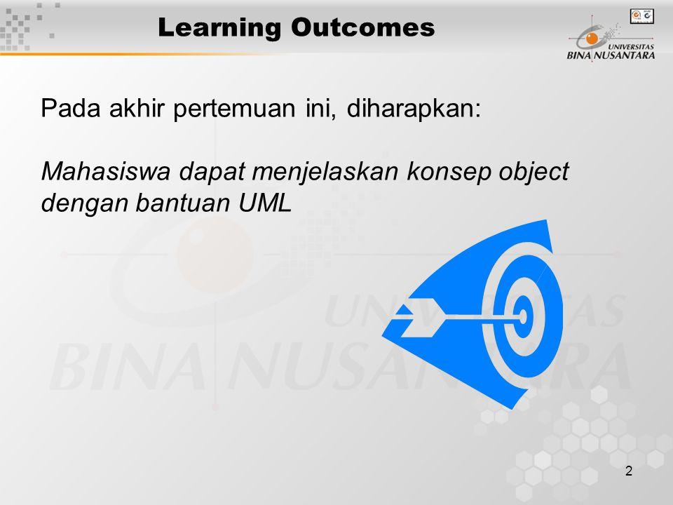 2 Learning Outcomes Pada akhir pertemuan ini, diharapkan: Mahasiswa dapat menjelaskan konsep object dengan bantuan UML