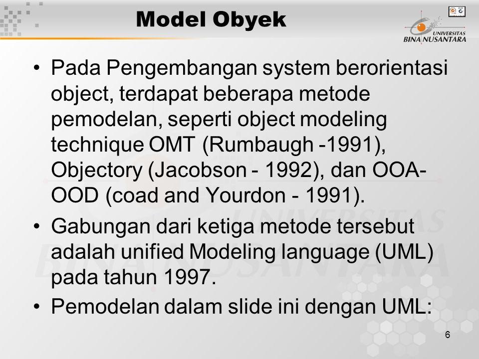 6 Pada Pengembangan system berorientasi object, terdapat beberapa metode pemodelan, seperti object modeling technique OMT (Rumbaugh -1991), Objectory (Jacobson - 1992), dan OOA- OOD (coad and Yourdon - 1991).