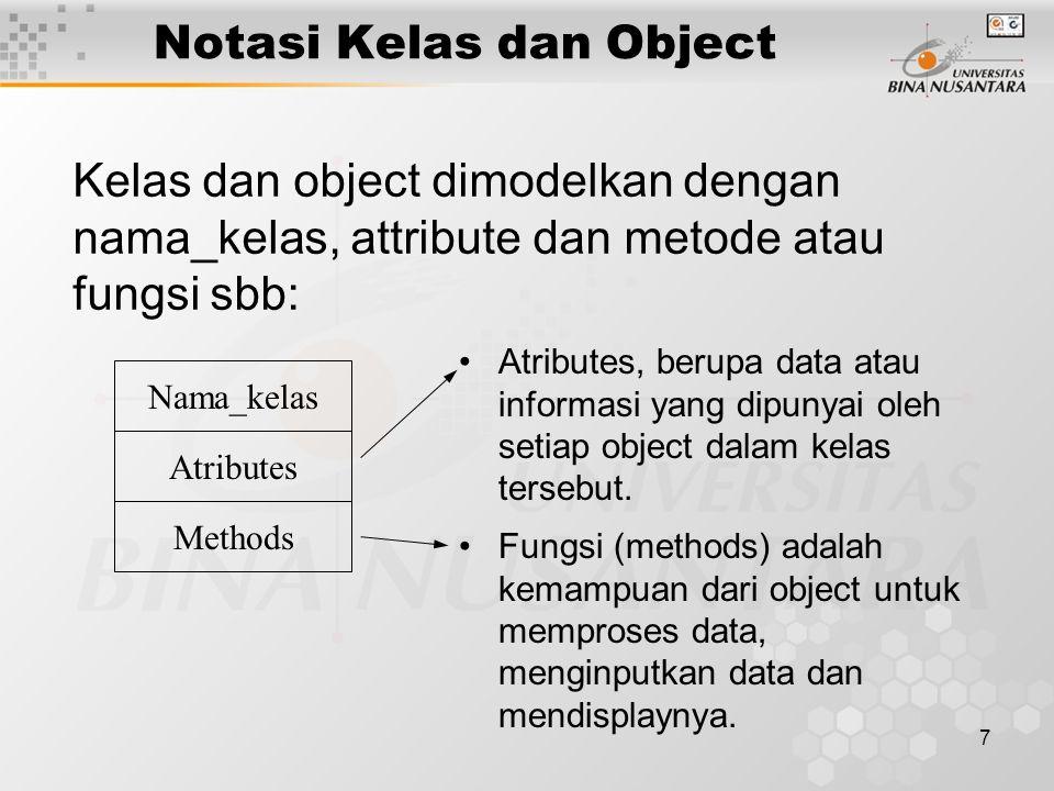 7 Kelas dan object dimodelkan dengan nama_kelas, attribute dan metode atau fungsi sbb: Atributes, berupa data atau informasi yang dipunyai oleh setiap object dalam kelas tersebut.