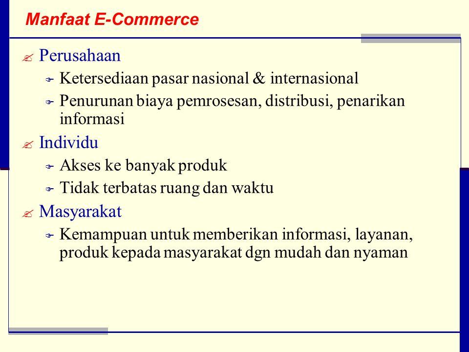 Manfaat E-Commerce  Perusahaan  Ketersediaan pasar nasional & internasional  Penurunan biaya pemrosesan, distribusi, penarikan informasi  Individu  Akses ke banyak produk  Tidak terbatas ruang dan waktu  Masyarakat  Kemampuan untuk memberikan informasi, layanan, produk kepada masyarakat dgn mudah dan nyaman