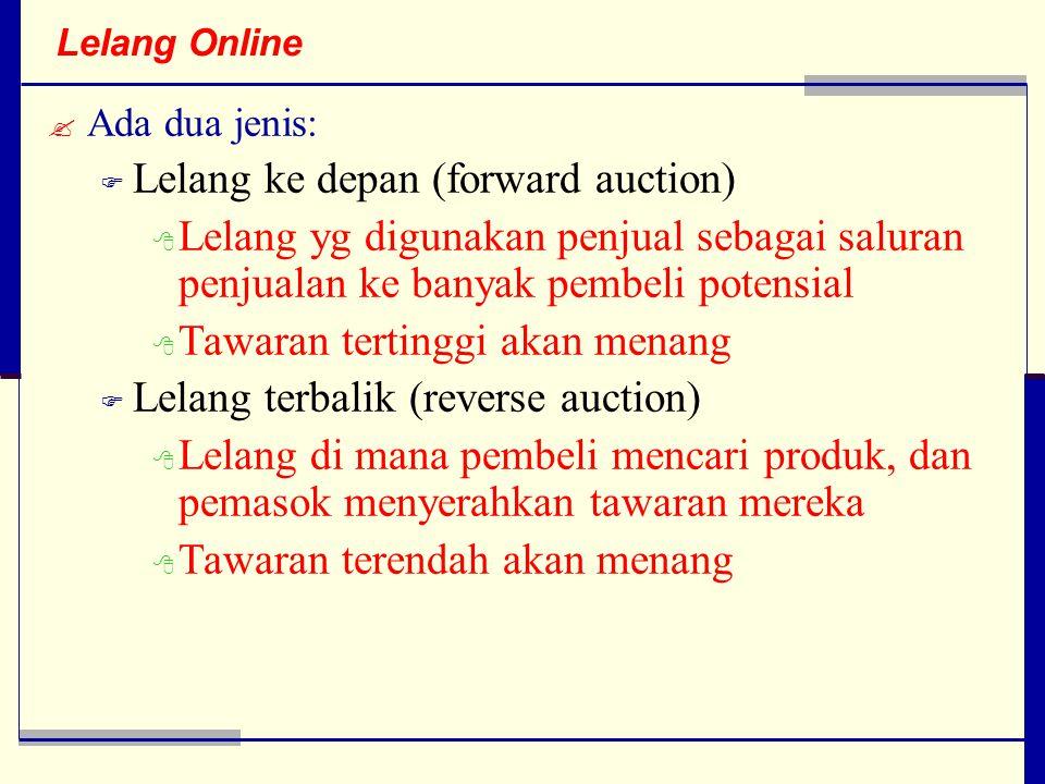 Lelang Online  Ada dua jenis:  Lelang ke depan (forward auction)  Lelang yg digunakan penjual sebagai saluran penjualan ke banyak pembeli potensial  Tawaran tertinggi akan menang  Lelang terbalik (reverse auction)  Lelang di mana pembeli mencari produk, dan pemasok menyerahkan tawaran mereka  Tawaran terendah akan menang