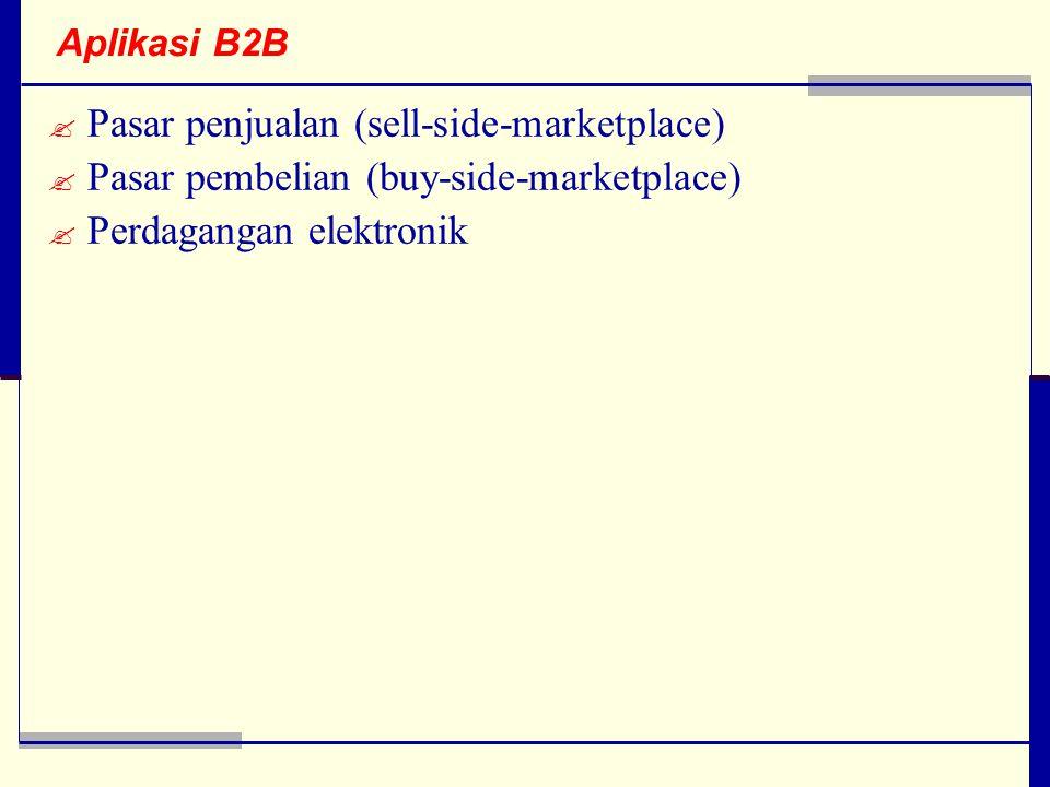 Aplikasi B2B  Pasar penjualan (sell-side-marketplace)  Pasar pembelian (buy-side-marketplace)  Perdagangan elektronik
