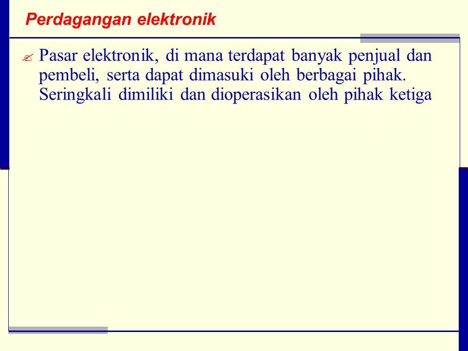 Perdagangan elektronik  Pasar elektronik, di mana terdapat banyak penjual dan pembeli, serta dapat dimasuki oleh berbagai pihak.