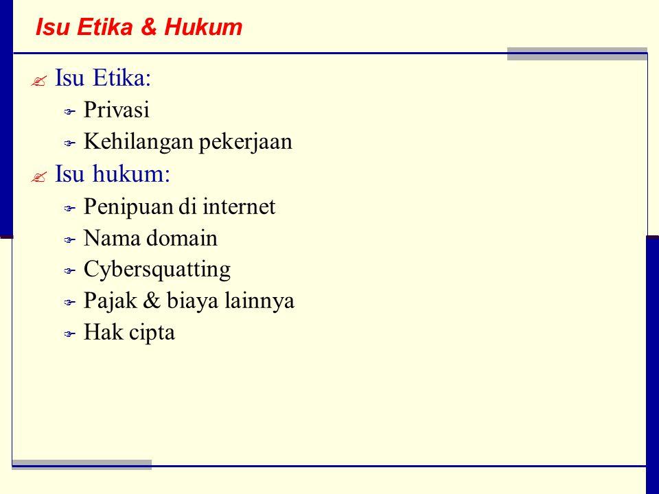 Isu Etika & Hukum  Isu Etika:  Privasi  Kehilangan pekerjaan  Isu hukum:  Penipuan di internet  Nama domain  Cybersquatting  Pajak & biaya lainnya  Hak cipta