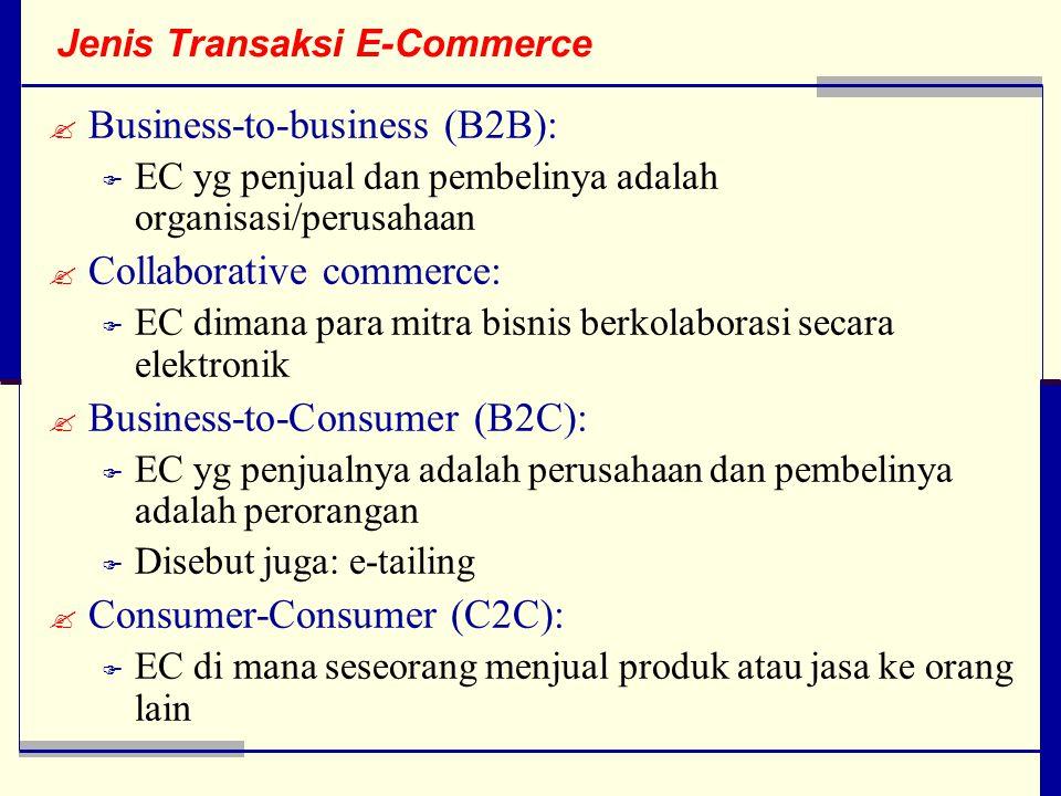 Jenis Transaksi E-Commerce  Business-to-business (B2B):  EC yg penjual dan pembelinya adalah organisasi/perusahaan  Collaborative commerce:  EC dimana para mitra bisnis berkolaborasi secara elektronik  Business-to-Consumer (B2C):  EC yg penjualnya adalah perusahaan dan pembelinya adalah perorangan  Disebut juga: e-tailing  Consumer-Consumer (C2C):  EC di mana seseorang menjual produk atau jasa ke orang lain