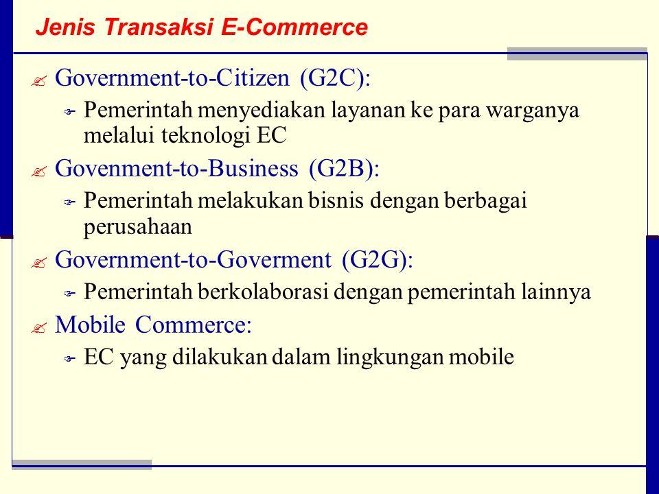 Jenis Transaksi E-Commerce  Government-to-Citizen (G2C):  Pemerintah menyediakan layanan ke para warganya melalui teknologi EC  Govenment-to-Business (G2B):  Pemerintah melakukan bisnis dengan berbagai perusahaan  Government-to-Goverment (G2G):  Pemerintah berkolaborasi dengan pemerintah lainnya  Mobile Commerce:  EC yang dilakukan dalam lingkungan mobile