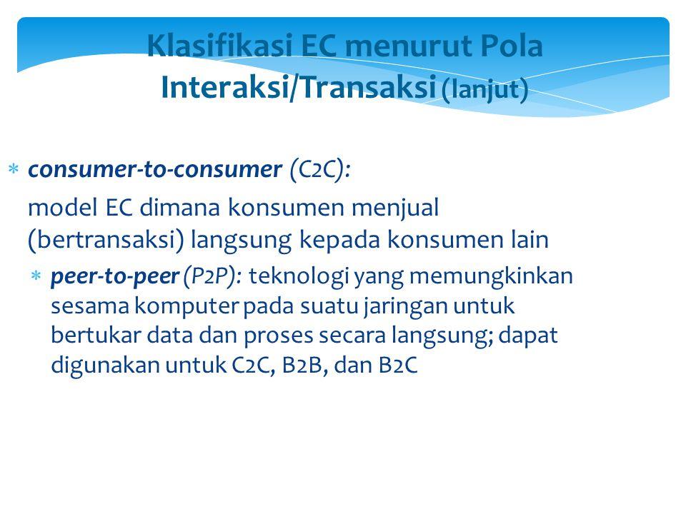 Klasifikasi EC menurut Pola Interaksi/Transaksi (lanjut)  consumer-to-consumer (C2C): model EC dimana konsumen menjual (bertransaksi) langsung kepada