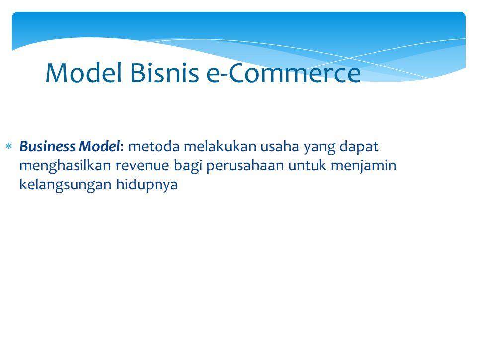 Model Bisnis e-Commerce  Business Model: metoda melakukan usaha yang dapat menghasilkan revenue bagi perusahaan untuk menjamin kelangsungan hidupnya