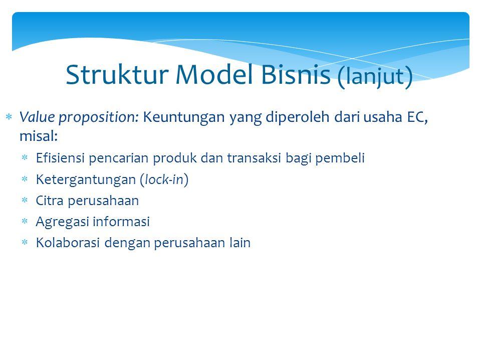 Struktur Model Bisnis (lanjut)  Value proposition: Keuntungan yang diperoleh dari usaha EC, misal:  Efisiensi pencarian produk dan transaksi bagi pe