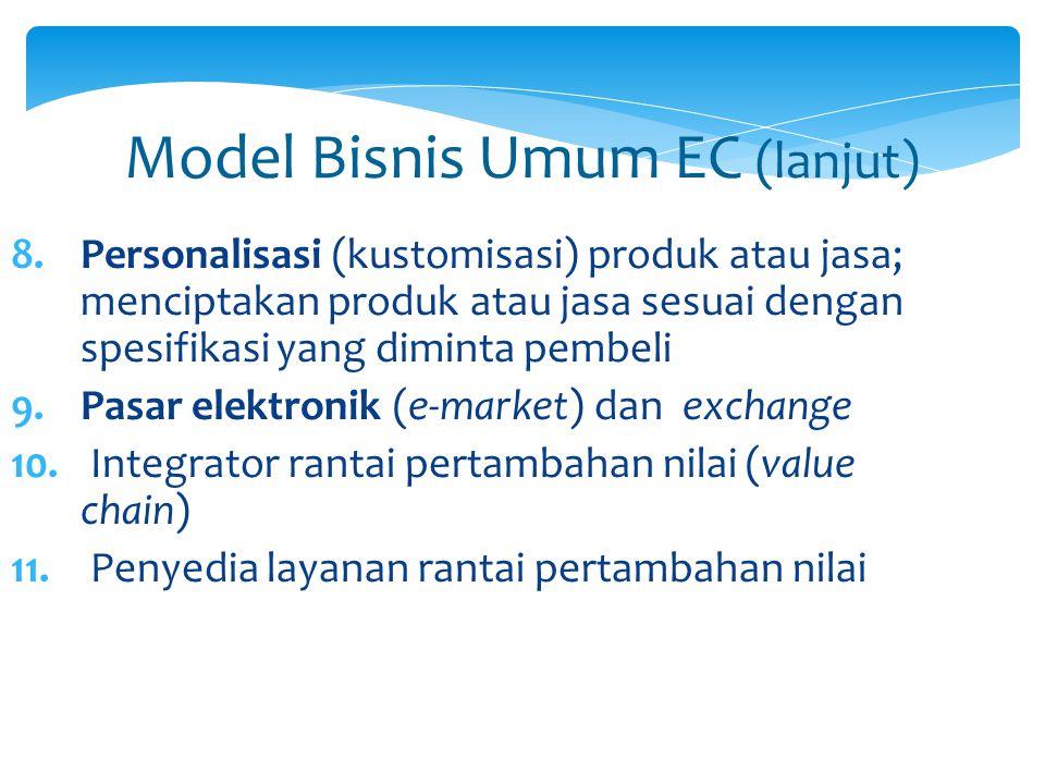 Model Bisnis Umum EC (lanjut) 8.Personalisasi (kustomisasi) produk atau jasa; menciptakan produk atau jasa sesuai dengan spesifikasi yang diminta pemb