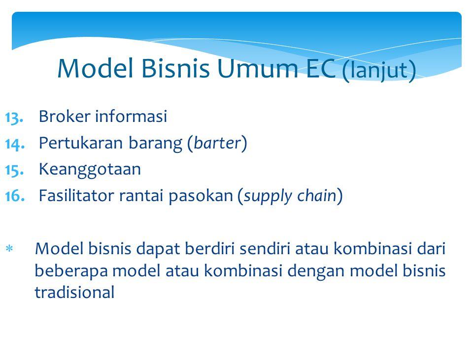 Model Bisnis Umum EC (lanjut) 13. Broker informasi 14. Pertukaran barang (barter) 15. Keanggotaan 16. Fasilitator rantai pasokan (supply chain)  Mode