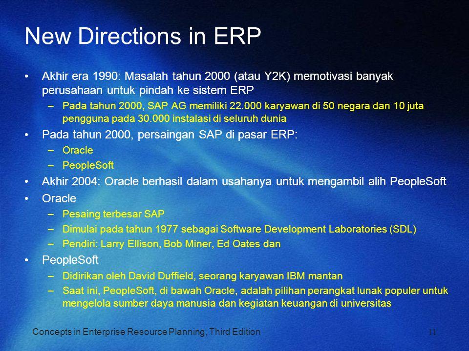 Concepts in Enterprise Resource Planning, Third Edition New Directions in ERP Akhir era 1990: Masalah tahun 2000 (atau Y2K) memotivasi banyak perusaha