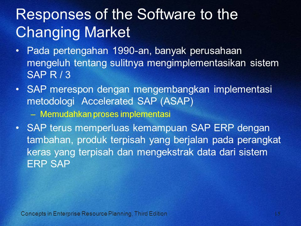 Concepts in Enterprise Resource Planning, Third Edition Responses of the Software to the Changing Market Pada pertengahan 1990-an, banyak perusahaan m