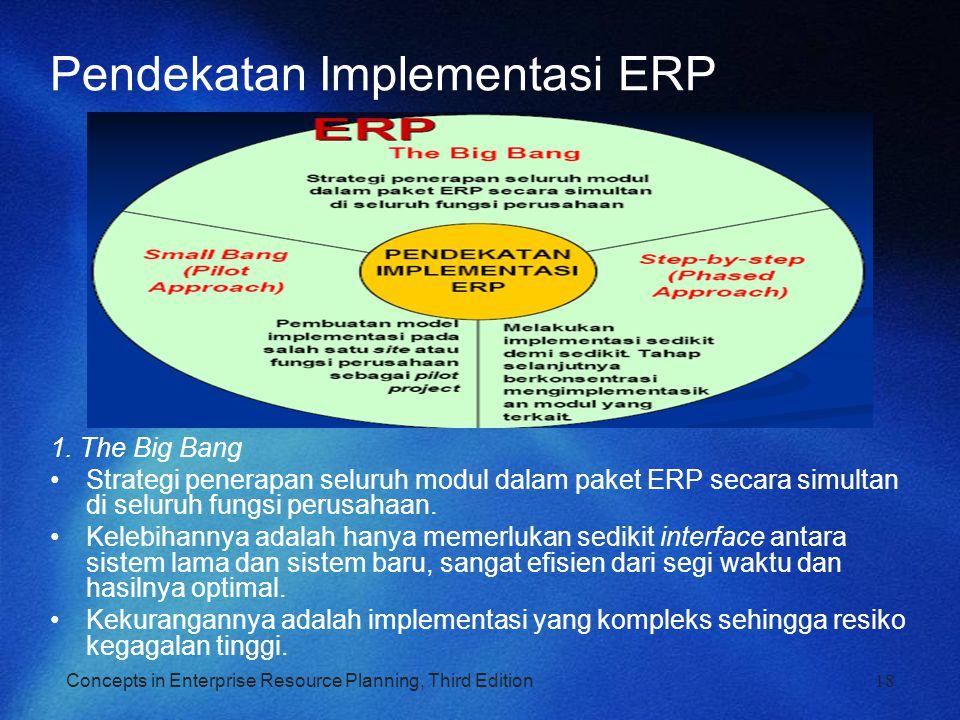 Concepts in Enterprise Resource Planning, Third Edition Pendekatan Implementasi ERP 1. The Big Bang Strategi penerapan seluruh modul dalam paket ERP s