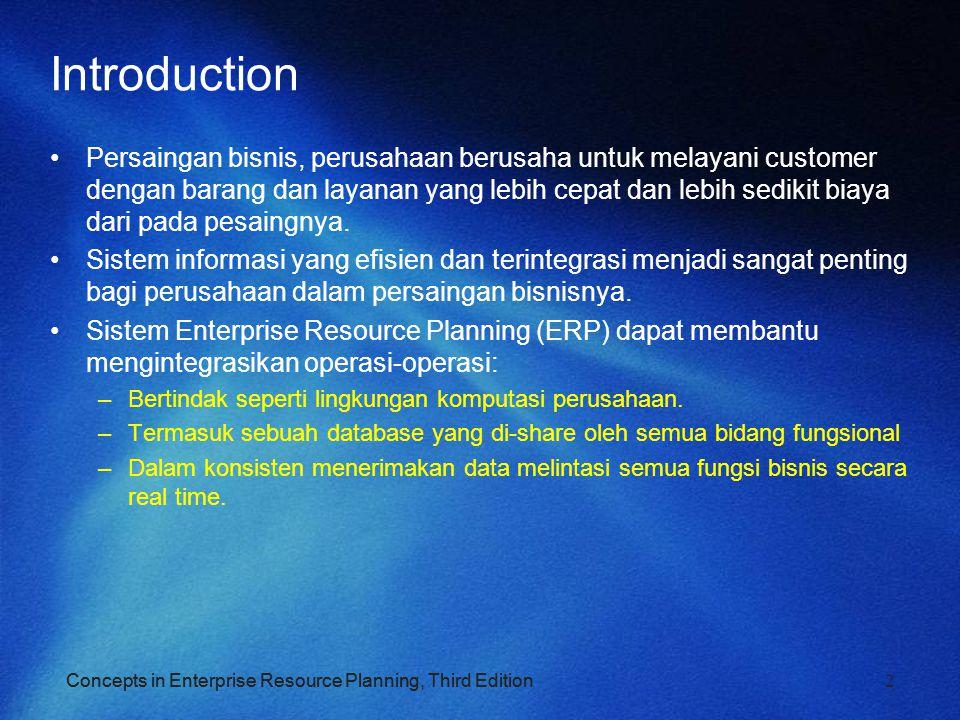 Concepts in Enterprise Resource Planning, Third Edition 2 Introduction Persaingan bisnis, perusahaan berusaha untuk melayani customer dengan barang da