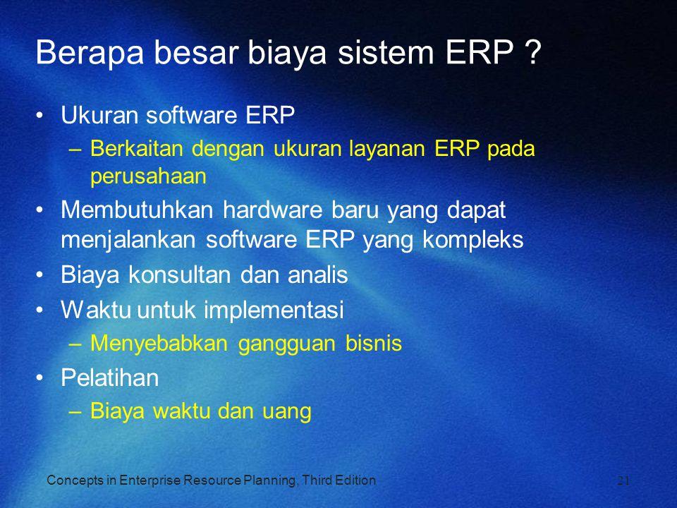 Concepts in Enterprise Resource Planning, Third Edition Berapa besar biaya sistem ERP ? Ukuran software ERP –Berkaitan dengan ukuran layanan ERP pada