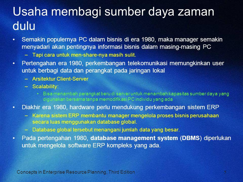 Concepts in Enterprise Resource Planning, Third Edition Usaha membagi sumber daya zaman dulu Semakin populernya PC dalam bisnis di era 1980, maka mana