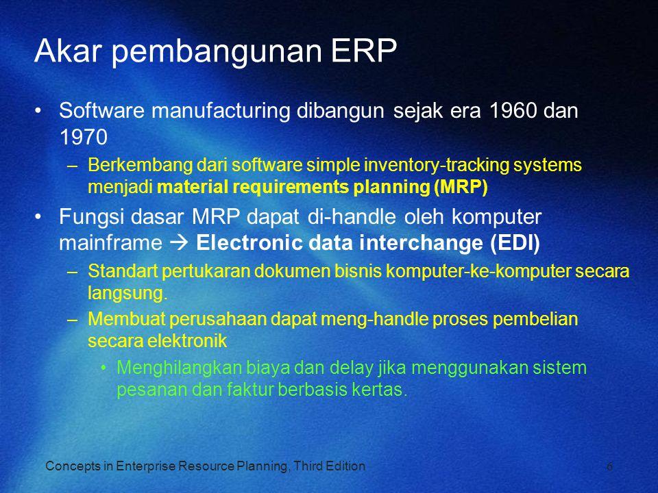 Concepts in Enterprise Resource Planning, Third Edition The Significance and Benefits of ERP Software and Systems Proses bisnis lebih efisien dengan biaya lebih sedikit dibandingkan mereka dalam sistem yang tidak terintegrasi Lebih mudah integrasi global Mengintegrasikan orang dan data sambil menghilangkan kebutuhan untuk memperbarui dan memperbaiki banyak sistem komputer yang terpisah Memungkinkan manajemen untuk mengelola operasi, tidak hanya memantau mereka Dapat secara dramatis mengurangi biaya dan meningkatkan efisiensi operasional 17