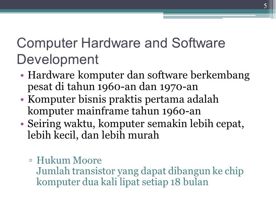 Computer Hardware and Software Development Kemajuan dalam perangkat lunak komputer ▫1970: software database relasional yang dikembangkan  Membantu bisnis dengan kemampuan untuk menyimpan, mengambil, dan menganalisis volume data yang besar ▫1980: software spreadsheet menjadi populer  Manajer dapat dengan mudah melakukan analisis bisnis yang kompleks 6
