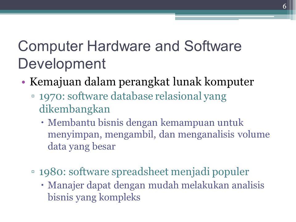 Awal Upaya untuk Berbagi Resources Pada pertengahan 1980-an, perkembangan telekomunikasi memungkinkan pengguna untuk berbagi data dan peripheral pada jaringan lokal Arsitektur client-server ▫Pada akhir 1980-an, hardware yang dibutuhkan untuk mendukung pengembangan sistem ERP sudah tersedia ▫Pada pertengahan 1980-an, sistem manajemen database (DBMS)  DBMS yang dibutuhkan untuk mengelola pengembangan perangkat lunak ERP kompleks sudah ada 7