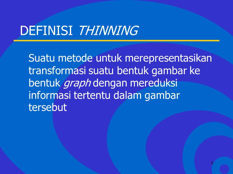 Click to edit Master text styles –Second level Third level –Fourth level »Fifth level 4 DEFINISI THINNING Suatu metode untuk merepresentasikan transformasi suatu bentuk gambar ke bentuk graph dengan mereduksi informasi tertentu dalam gambar tersebut