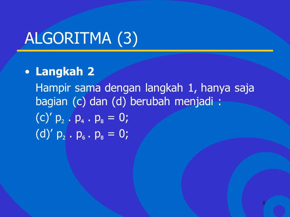 Click to edit Master text styles –Second level Third level –Fourth level »Fifth level 8 ALGORITMA (3) Langkah 2 Hampir sama dengan langkah 1, hanya saja bagian (c) dan (d) berubah menjadi : (c)' p 2.
