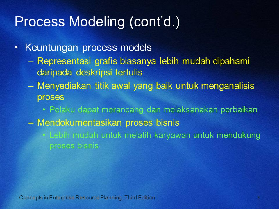 Concepts in Enterprise Resource Planning, Third Edition3 Process Modeling (cont'd.) Keuntungan process models –Representasi grafis biasanya lebih muda