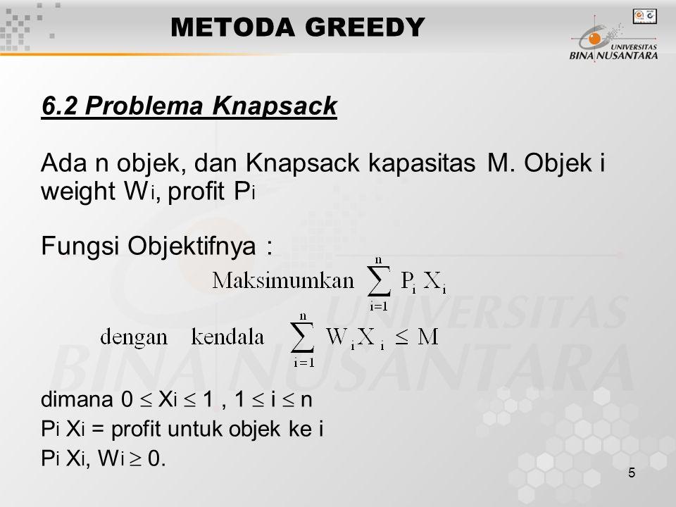 5 METODA GREEDY 6.2 Problema Knapsack Ada n objek, dan Knapsack kapasitas M. Objek i weight W i, profit P i Fungsi Objektifnya : dimana 0  X i  1, 1