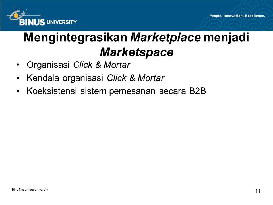 Bina Nusantara University 11 Mengintegrasikan Marketplace menjadi Marketspace Organisasi Click & Mortar Kendala organisasi Click & Mortar Koeksistensi sistem pemesanan secara B2B