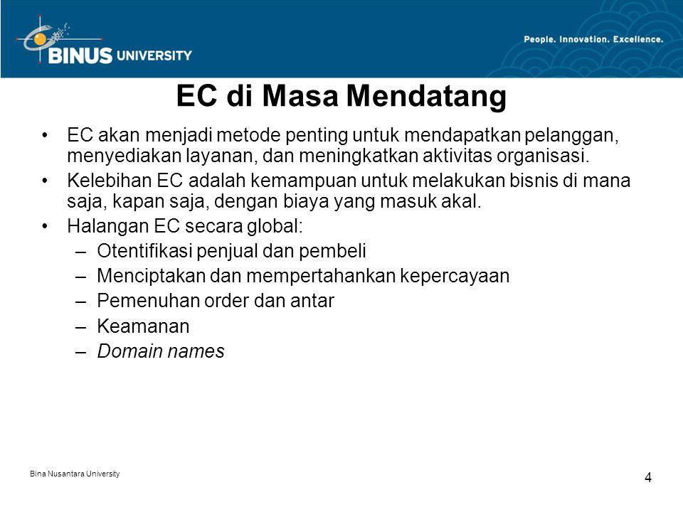Bina Nusantara University 4 EC di Masa Mendatang EC akan menjadi metode penting untuk mendapatkan pelanggan, menyediakan layanan, dan meningkatkan aktivitas organisasi.