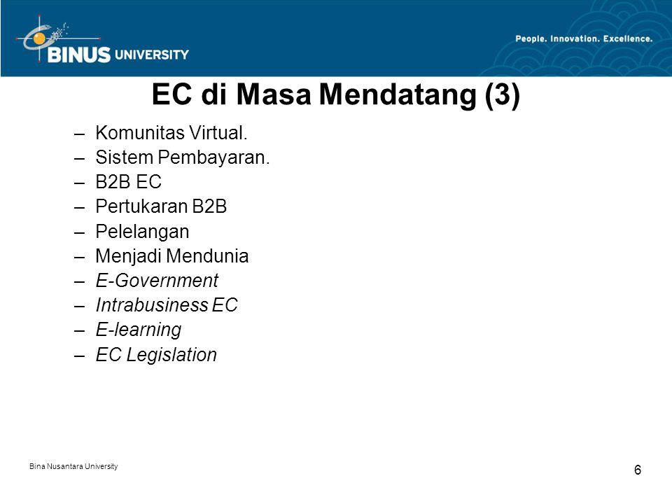 Bina Nusantara University 6 EC di Masa Mendatang (3) –Komunitas Virtual.