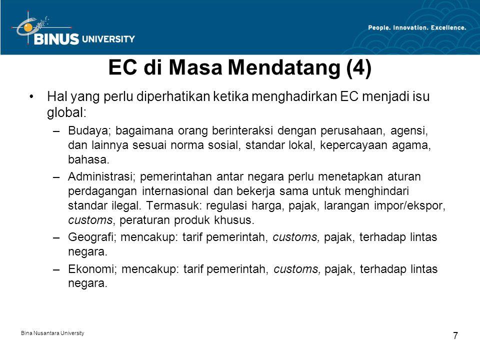 Bina Nusantara University 7 EC di Masa Mendatang (4) Hal yang perlu diperhatikan ketika menghadirkan EC menjadi isu global: –Budaya; bagaimana orang berinteraksi dengan perusahaan, agensi, dan lainnya sesuai norma sosial, standar lokal, kepercayaan agama, bahasa.