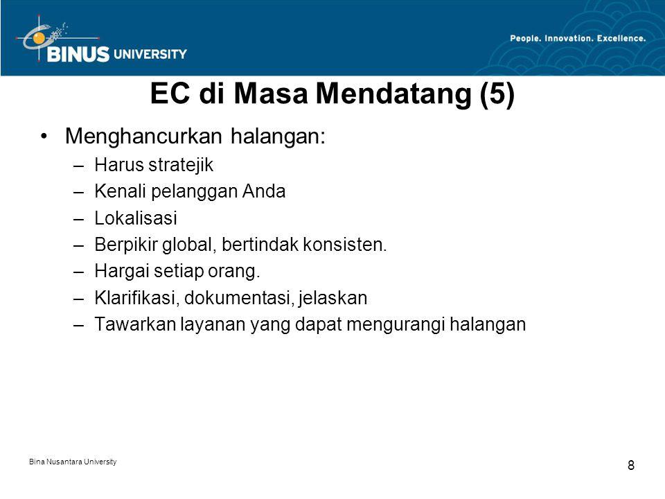 Bina Nusantara University 8 EC di Masa Mendatang (5) Menghancurkan halangan: –Harus stratejik –Kenali pelanggan Anda –Lokalisasi –Berpikir global, bertindak konsisten.