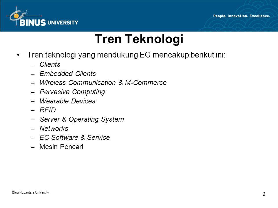 Bina Nusantara University 9 Tren Teknologi Tren teknologi yang mendukung EC mencakup berikut ini: –Clients –Embedded Clients –Wireless Communication & M-Commerce –Pervasive Computing –Wearable Devices –RFID –Server & Operating System –Networks –EC Software & Service –Mesin Pencari