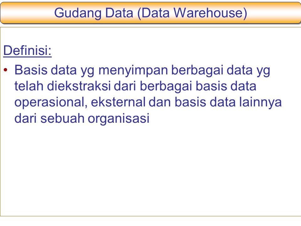 Gudang Data (Data Warehouse) Definisi: Basis data yg menyimpan berbagai data yg telah diekstraksi dari berbagai basis data operasional, eksternal dan basis data lainnya dari sebuah organisasi