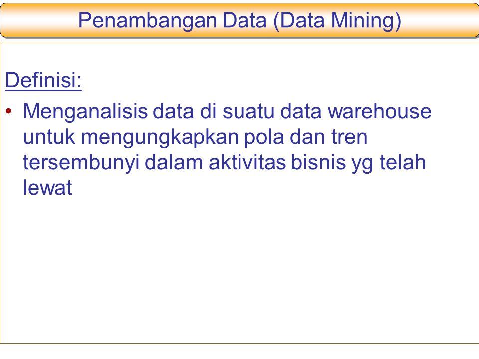 Penambangan Data (Data Mining) Definisi: Menganalisis data di suatu data warehouse untuk mengungkapkan pola dan tren tersembunyi dalam aktivitas bisnis yg telah lewat