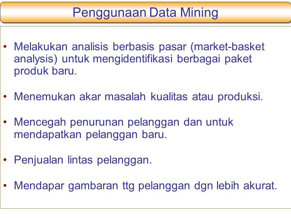 Penggunaan Data Mining Melakukan analisis berbasis pasar (market-basket analysis) untuk mengidentifikasi berbagai paket produk baru. Menemukan akar ma