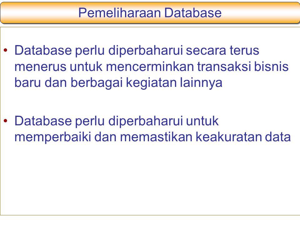 Pemeliharaan Database Database perlu diperbaharui secara terus menerus untuk mencerminkan transaksi bisnis baru dan berbagai kegiatan lainnya Database perlu diperbaharui untuk memperbaiki dan memastikan keakuratan data