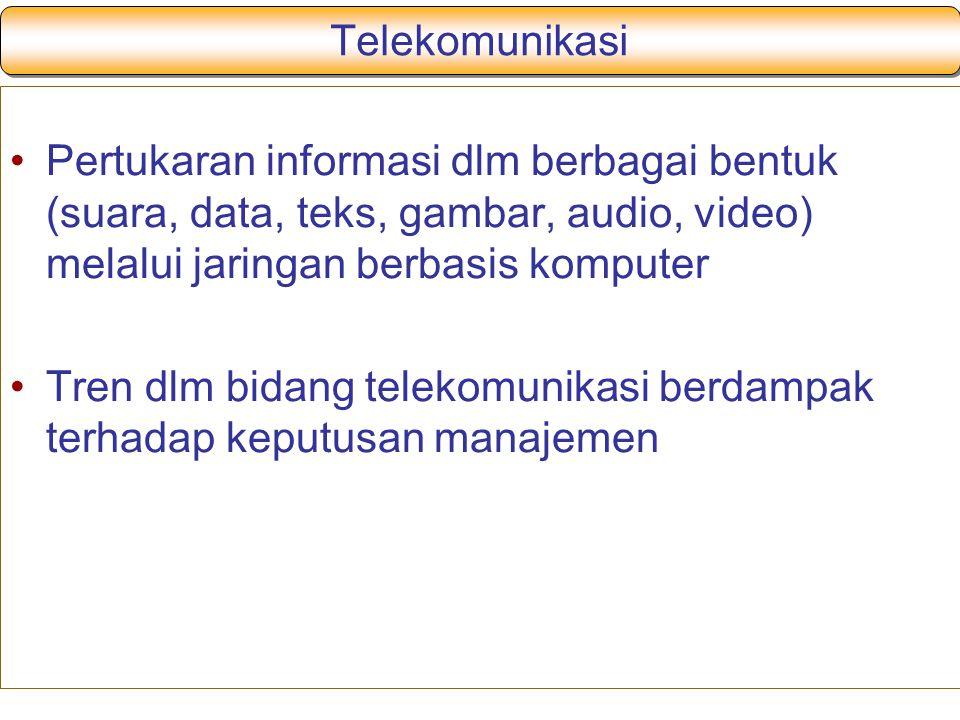 Telekomunikasi Pertukaran informasi dlm berbagai bentuk (suara, data, teks, gambar, audio, video) melalui jaringan berbasis komputer Tren dlm bidang telekomunikasi berdampak terhadap keputusan manajemen
