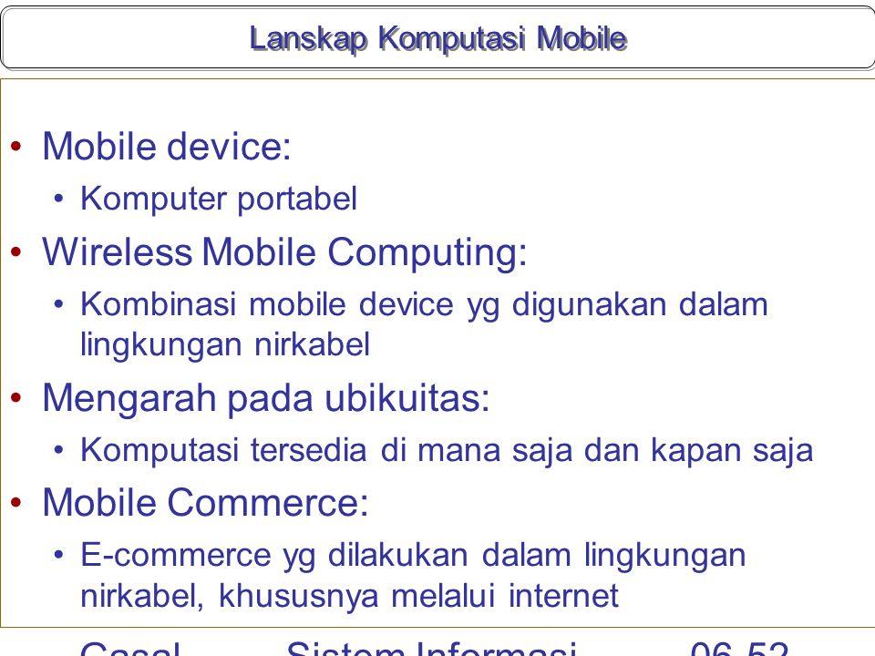Gasal 2010 Sistem Informasi Manajemen 06-52 Lanskap Komputasi Mobile Mobile device: Komputer portabel Wireless Mobile Computing: Kombinasi mobile devi